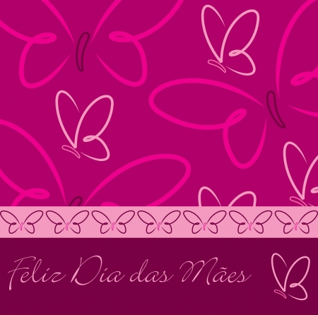 Portuguese Happy Mother s Day butterfly card