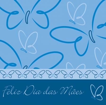 Portuguese Happy Mother s Day butterfly card Ilustração
