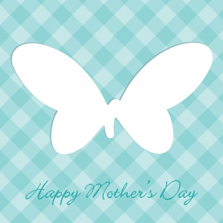 Aqua Mother s Day plaid butterfly cut out card Vector