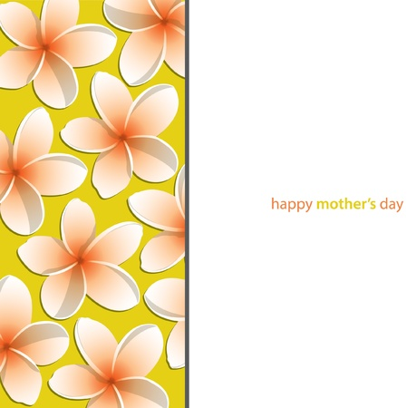 Happy Mother s Day Frangipani  Plumeria  card Vector