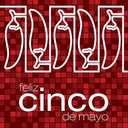 Feliz Cinco de Mayo   Happy 5th of May  chilli card Vector