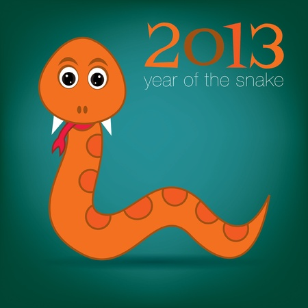 Happy New Year snake card  Vector
