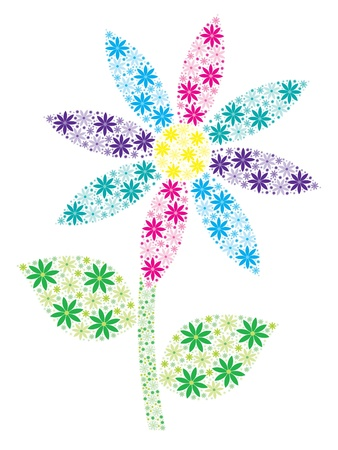 Pink, aqua, purple, blue and yellow mosaic spiky daisy made out of many small daisies