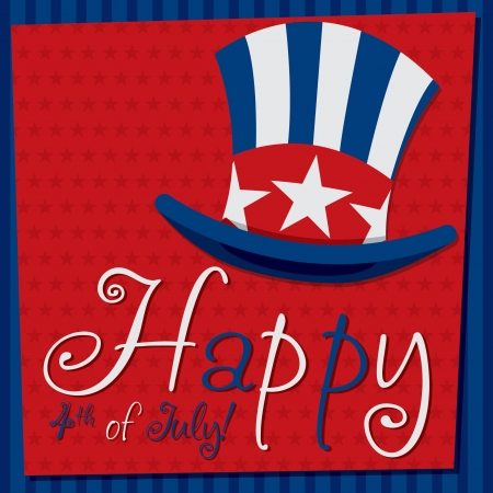 Patriotic Uncle Sam hat 4th of July card in vector format  Stock Vector - 19902822