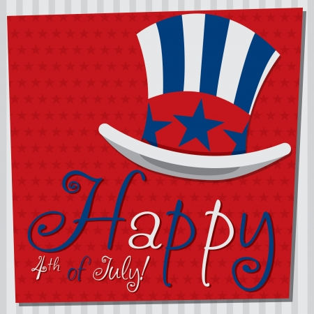 July 4: Patriotic Uncle Sam hat 4th of July card in vector format