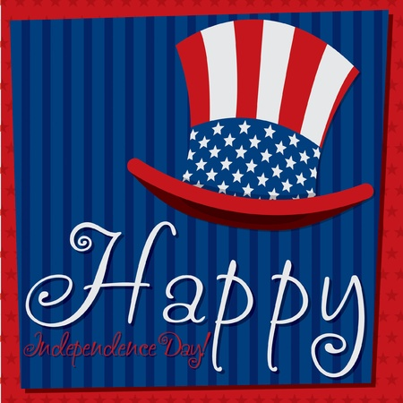 Patriotic Uncle Sam hat 4th of July card in vector format Stock Vector - 19902808