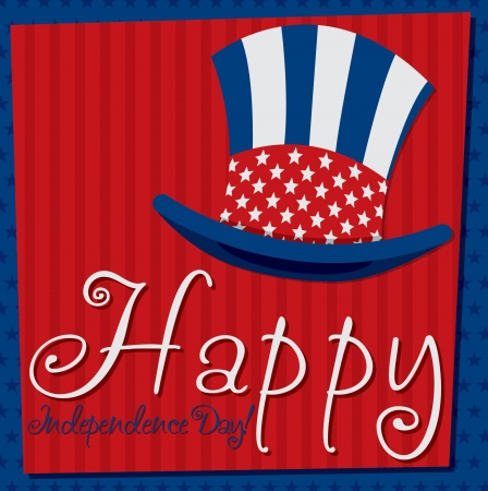 Patriotic Uncle Sam hat 4th of July card in vector format Stock Vector - 19902830