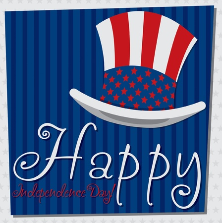 Patriotic Uncle Sam hat 4th of July card in vector format  Stock Vector - 19902802
