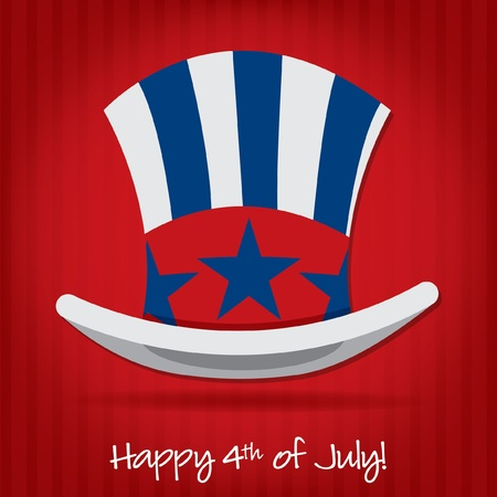 Patriotic Uncle Sam hat 4th of July card in vector format Stock Vector - 19902845