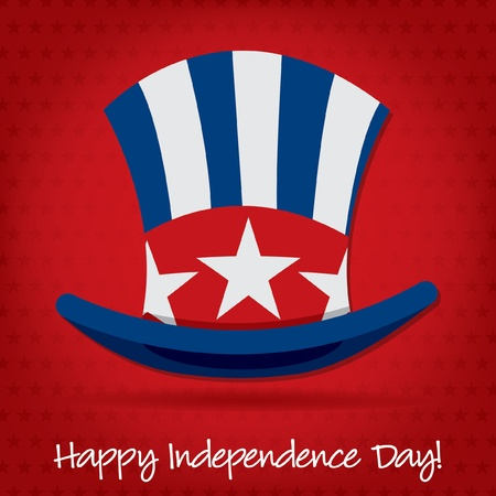 Patriotic Uncle Sam hat 4th of July card in vector format Stock Vector - 19902858