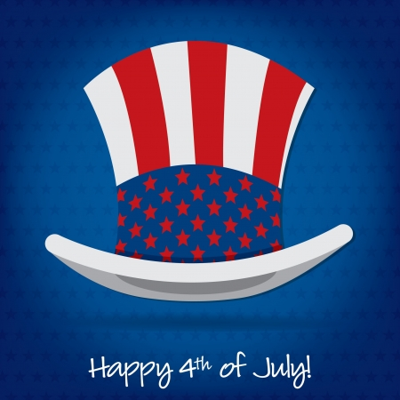 Patriotic Uncle Sam hat 4th of July card in vector format Stock Vector - 19902865