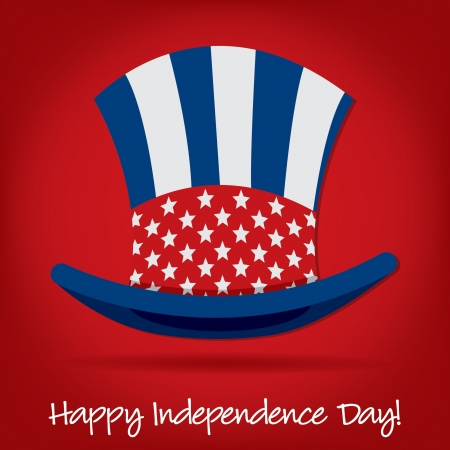 Patriotic Uncle Sam hat 4th of July card in vector format Stock Vector - 19902835