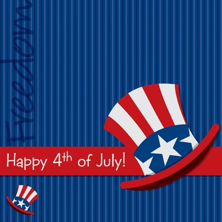 Patriotic Uncle Sam hat 4th of July card  Vector