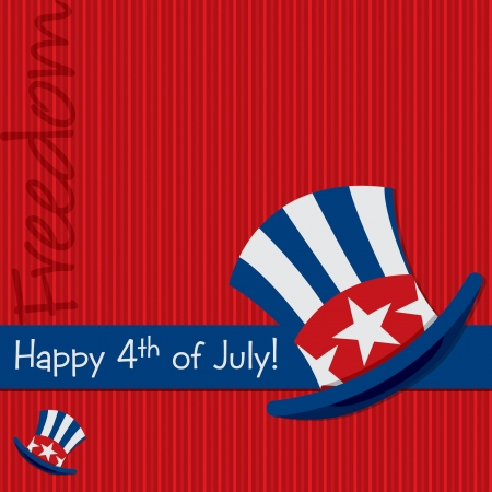 Patriotic Uncle Sam hat 4th of July card in vector format Stock Vector - 19902752
