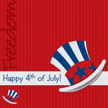 Pattic Uncle Sam hat 4th of July card in vector format  Stock Vector - 19890295