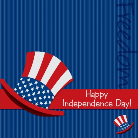 Patriotic Uncle Sam hat 4th of July card in vector format  Stock Vector - 19902780