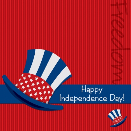 Patriotic Uncle Sam hat 4th of July card in vector format  Stock Vector - 19902764