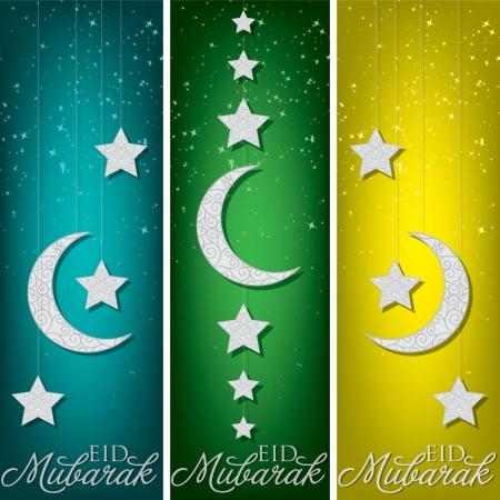 Bright  Eid Mubarak   Blessed Eid  banners in format  Vector