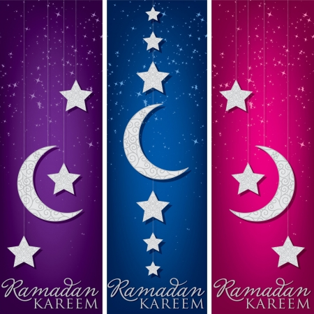 star and crescent: Bright  Ramadan Kareem   Generous Ramadan  banners in format