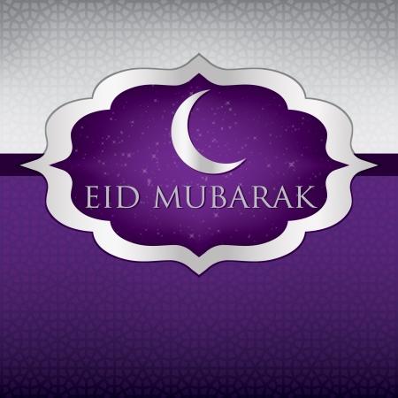 Crescent moon  Eid Mubarak   Blessed Eid  card in format Vector
