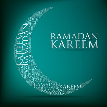 islamic ramadan: Crescent moon  Ramadan Kareem   Generous Ramadan  card in format
