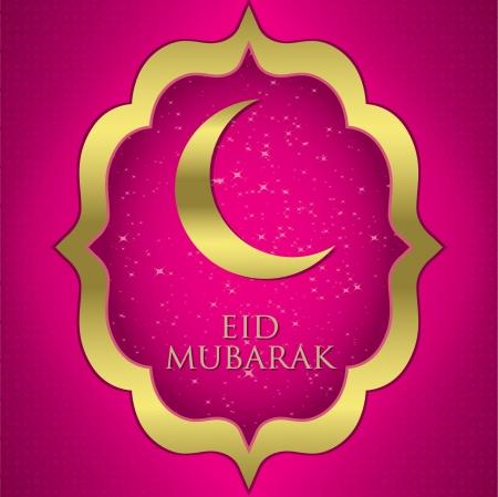 fuchsia: Eid Mubarak  Blessed Eid  moon card in vector format