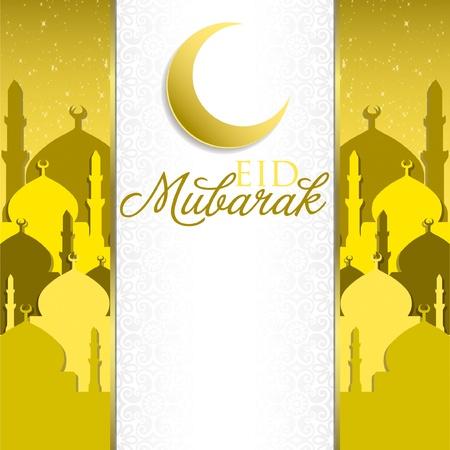 Eid Mubarak  Blessed Eid  mosque card in vector format