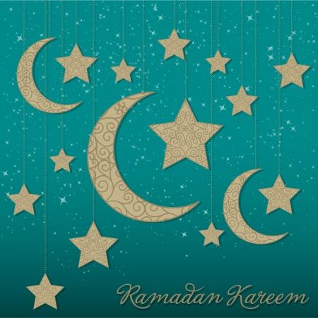 crescent:  Ramadan Kareem   Generous Ramadan  hanging moon card in vector format