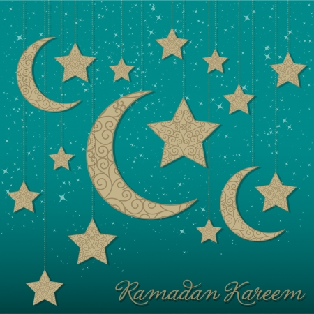 generoso: Ramadan Kareem Ramadan Generoso colgando tarjeta de la luna en formato vectorial