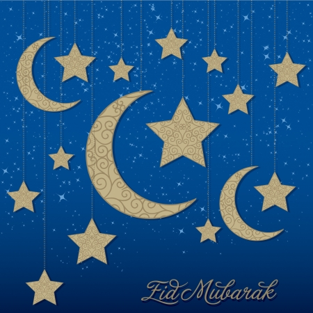 star and crescent: Eid Mubarak  Blessed Eid  hanging moon card in vector format