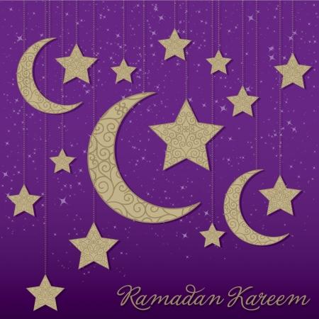 Ramadan Kareem   Generous Ramadan  hanging moon card in vector format  Vector