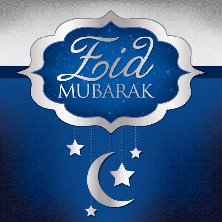 Eid Mubarak  Blessed Eid  hanging moon card in vector format    Vector