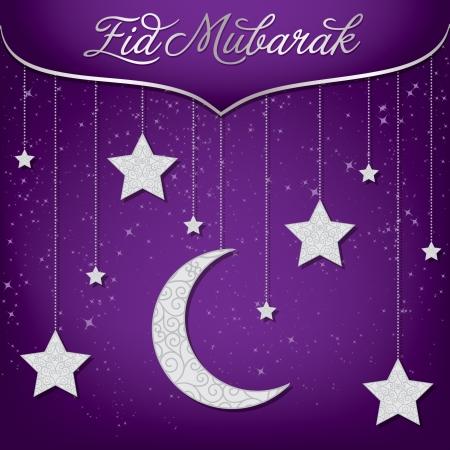 Eid Mubarak  Blessed Eid  card in vector format  Vectores