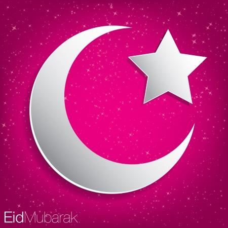 Eid Mubarak  Blessed Eid  card in vector format  Vector