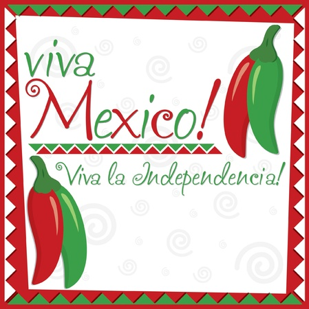 red chilli pepper plant: Mexican Independence Day card in vector format