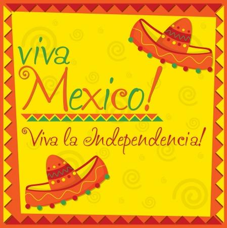 gorros de fiesta: Tarjeta del d�a de la Independencia de M�xico en formato vectorial