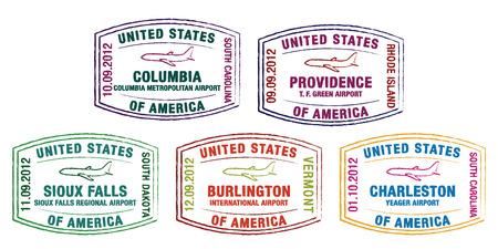 US Passport Stamps in vector format  Vector