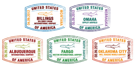 US Passport Stamps in vector format  Vector