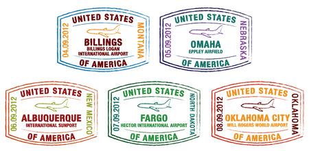 albuquerque: US Passport Stamps in vector format  Illustration