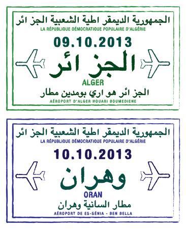 alger: Timbri sui passaporti di Algeria in formato vettoriale Vettoriali