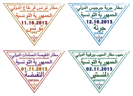 Passport stamps of Tunisia in vector format  Vector