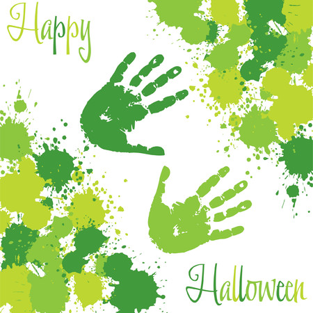 Slime spatter Halloween card in vector format