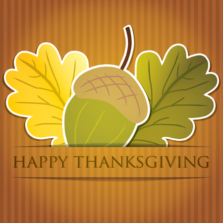 Acorn and leaf Thanksgiving card in vector format