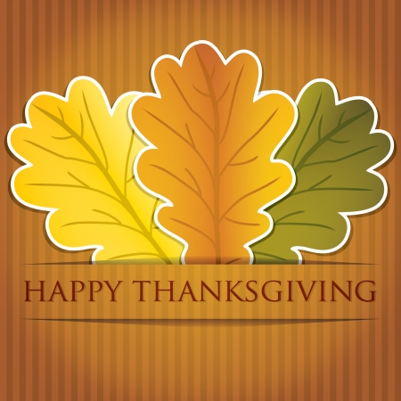 thankful: Acorn leaves Thanksgiving card in vector format