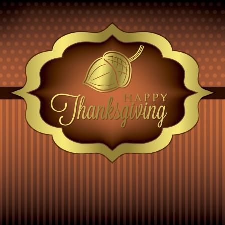 Acorn elegant Thanksgiving card in vector format