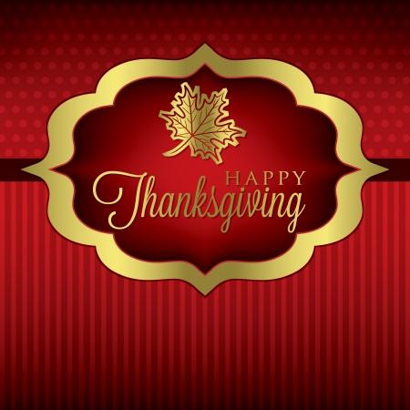 Maple leaf elegant Thanksgiving card in vector format  Vectores