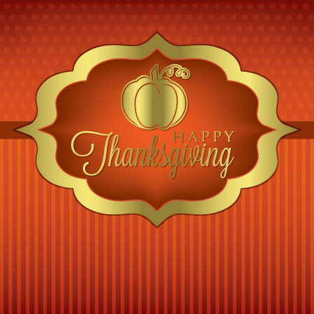thanksgiving leaves: Pumpkin elegant Thanksgiving card in vector format