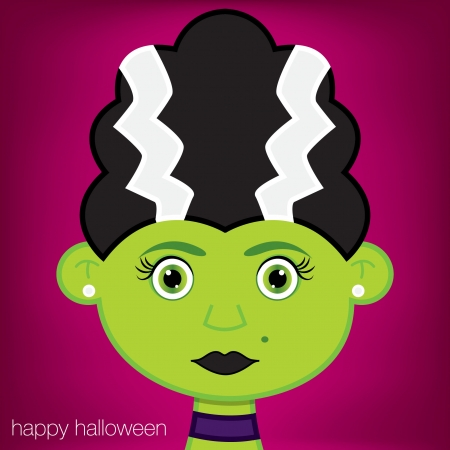 Frankenstein s Bride Halloween card in vector format