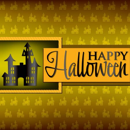 Haunted house Halloween card in vector format