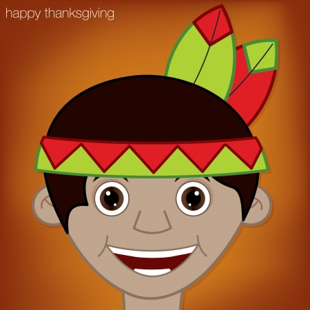 Thanksgiving American Indian man character in vector format  Vector